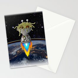 Flying Spaghetti Monster Earth Space Stars Rocket Atmosphere Stationery Cards