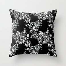Cabbage Roses - Black Throw Pillow