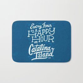 Every Hour is a Happy Hour Blue Bath Mat