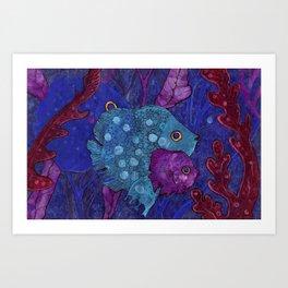 Fish Family in Seaweed Art Print