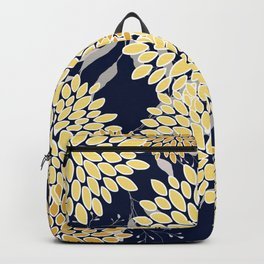 Floral Leaves and Blooms, Yellow and Navy Blue Backpack