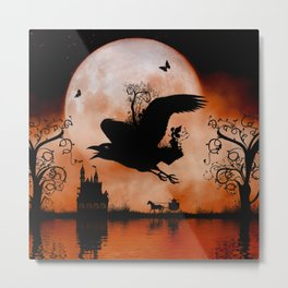 Awesome crow flying with a fairy Metal Print
