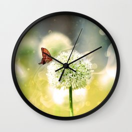 Allium fantasy flowers with butterfly Wall Clock