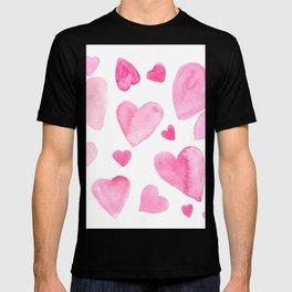 Pink Watercolor Hearts T-shirt