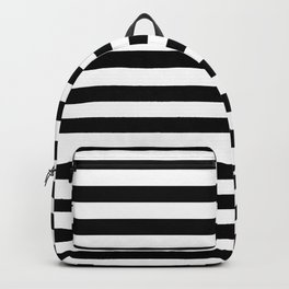 Black and White Horizontal Strips | Classic Cabana Stripe Backpack