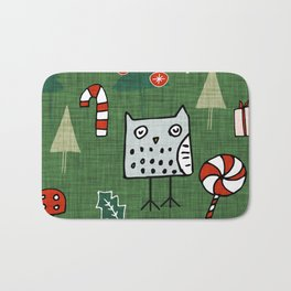 Christmas Owl Green #Christmas #Holiday Bath Mat