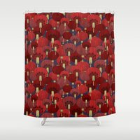 lanterns Shower Curtains featuring Chinese Lanterns by Deborah Panesar Illustration