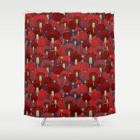 chinese Shower Curtains featuring Chinese Lanterns by Deborah Panesar Illustration