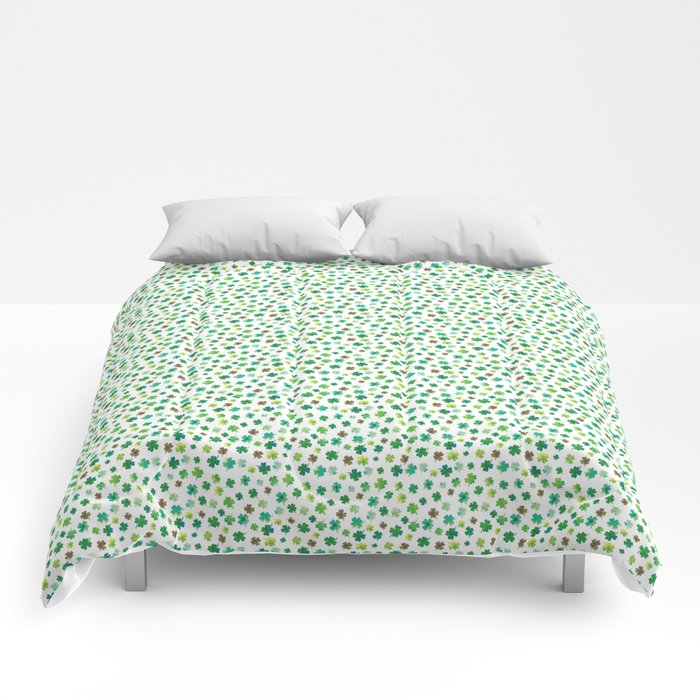 Lucky Watercolor Clovers Comforters