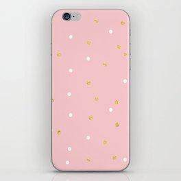 Pink & Gold Polka iPhone Skin
