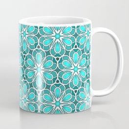Symmetrical Flower Pattern in Turquoise Coffee Mug