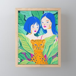 Girls and Panther in Tropical Jungle Framed Mini Art Print