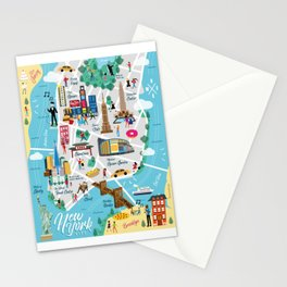New York Illustrated Map Stationery Cards