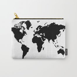 Black and White world map Carry-All Pouch