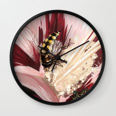 Wasp on flower 7 Wall Clock