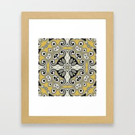 Edwardian Geo Yellow Grey Framed Art Print