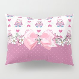 Girly Pink Owls Love You Pillow Sham