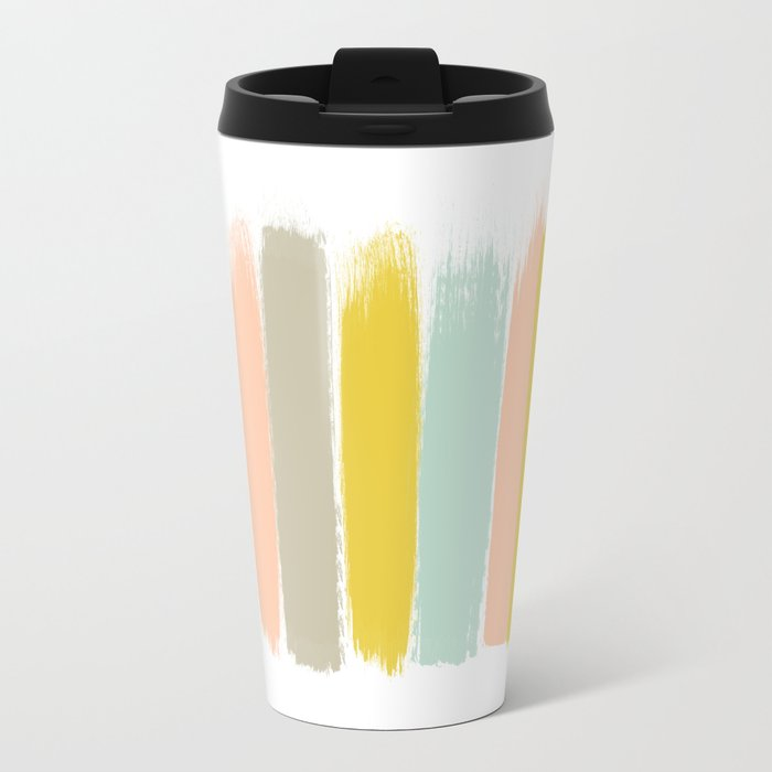 Madison - Brushstroke art print in modern colors bright and happy gifts for trendy girls Metal Travel Mug
