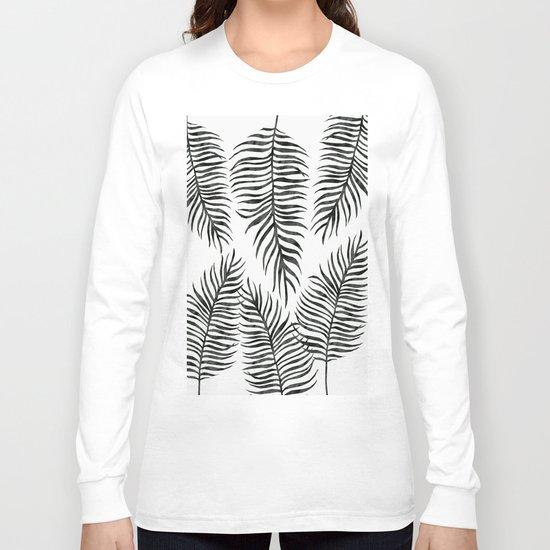 Black Fern Pattern Long Sleeve T-shirt