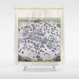 Vintage Paris Gold Foil Location Coordinates with historical map Shower Curtain
