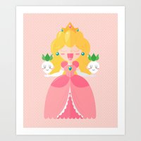 peach Art Prints featuring Peach by Khatii