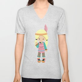 Cute Girl, Native American Girl, Blonde Hair Unisex V-Neck