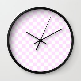 Small Checkered - White and Pastel Violet Wall Clock