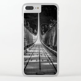 nice view on the Geierlay Bridge - black and white Clear iPhone Case