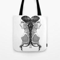 gemini Tote Bags featuring Gemini by Carolina Espinosa