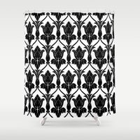 221b Shower Curtains featuring 221B Baker Street - Fleur de lis. by Arrows At My Window Designs
