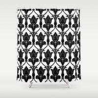 221b Shower Curtains featuring 221B Baker Street - Fleur de lis. by Arrows At My Window Designs