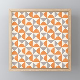 Orange and Gray Retro Minimalist Geometric Pattern Framed Mini Art Print