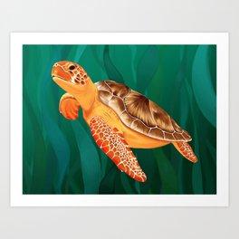 Katma the Green Sea Turtle Art Print
