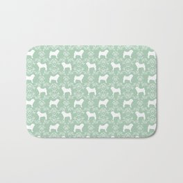 Pug silhouette florals mint pattern for pug dog lover pet pattern gifts Bath Mat