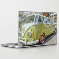 lime green Laptop & iPad Skins featuring Lime Green Camper Van by Cornish Creations