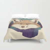 jon snow Duvet Covers featuring Fox by Laura Graves