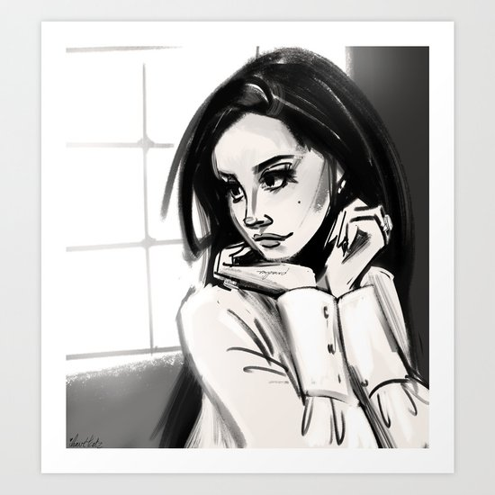 woman in black and white Art Print