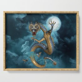 Wonderful asian dragon in the sky Serving Tray