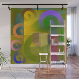 Multicolored spiral geometry Wall Mural