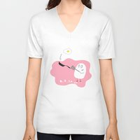cooking V-neck T-shirts featuring cooking egg by Yumi Oeuf