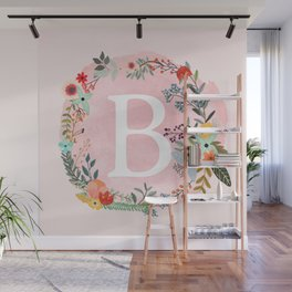 Flower Wreath with Personalized Monogram Initial Letter B on Pink Watercolor Paper Texture Artwork Wall Mural