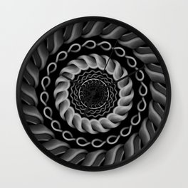 Circle of chains - Grey scale mandala Wall Clock