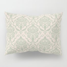 Ivory and Sage Green Damask Pattern Pillow Sham