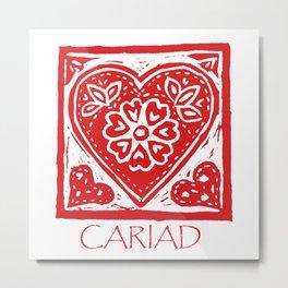 Cariad Darling sweetheart lino print red Metal Print