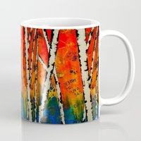 birch Mugs featuring Orange Birch  by BeachStudio