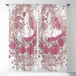 Sexy Woman zombie WITH Flower - Razzmatazz Sheer Curtain
