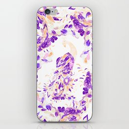 Floral purple orange watercolor peacock pattern illustration iPhone Skin