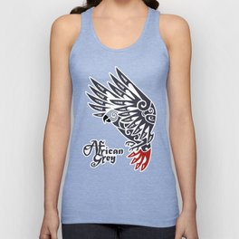 African grey parrot tribal tattoo Unisex Tank Top