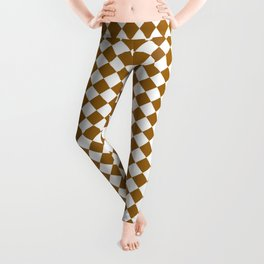 Small Diamonds - White and Golden Brown Leggings