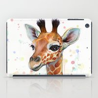 giraffe iPad Cases featuring Giraffe Baby by Olechka